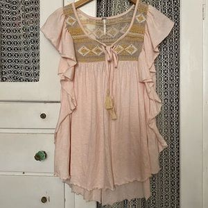 Free People Tunic pink ruffle boho chic